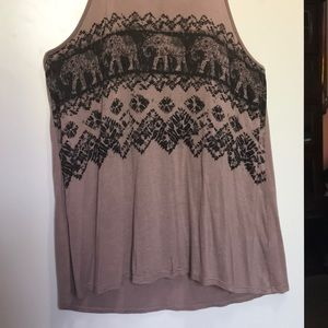 Brown tank top with elephant design